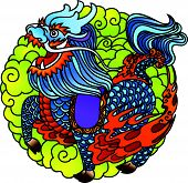 stock photo of chinese unicorn  - Unicorn Full Color design in Chinese traditional Paper Cut style  - JPG