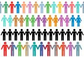 stock photo of holding hands  - Rows of diverse stick figure symbol people and couples hold hands as borders or lines - JPG