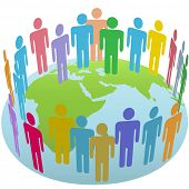 stock photo of eastern hemisphere  - Population of Earth people meet in a world circle on a globe Eastern Hemisphere - JPG