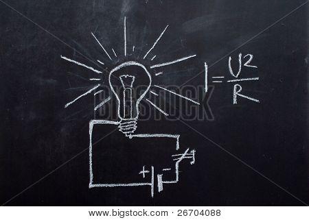 Light bulb drawn on blackboard