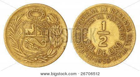 Old Peruvian Half SOLDE ORO Coin of 1959