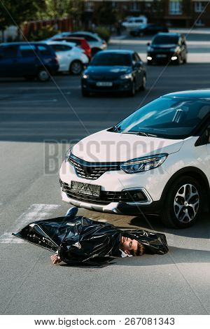 Dead Body And Car On