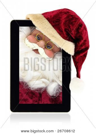 Santa Claus in the Christmas tablet