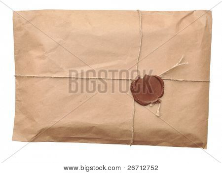 postal parcel wrapped in coarse paper, isolated on a white background