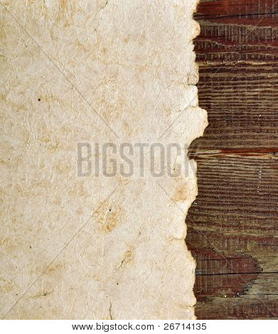 old paper on border wood background