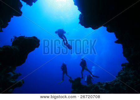 Diver silhouettes from in an underwater canyon in Dahab, Egypt