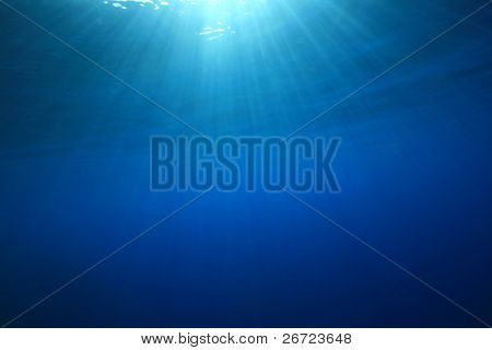 Abstract blue water background with sun beams