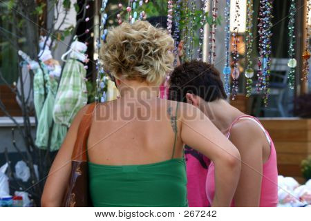 Gay Couple Street Shopping