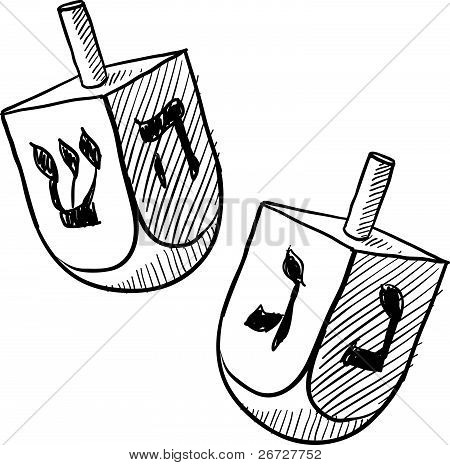 Jewish dreidel sketch