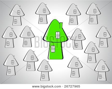 many little gray houses and one outstanding big green house