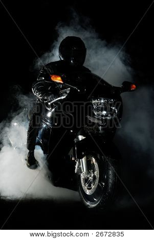 Black Motorcyle At Night