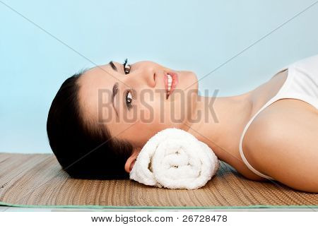 close up, woman relaxing and enjoy in spa center