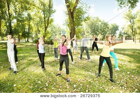 large group of  young people exercising yoga in park