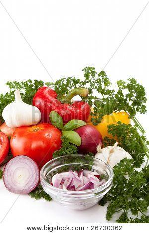 fresh vegetable preparing for eating