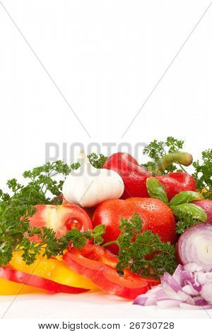 colorful fresh group of vegetables , isolated on white background