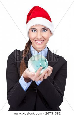cute businesswoman holding  globe in hands, concept - global business, isolated on white background