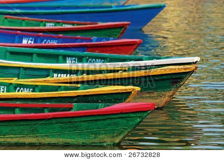 Color boats on Phewa lake, Pokhara, Nepal