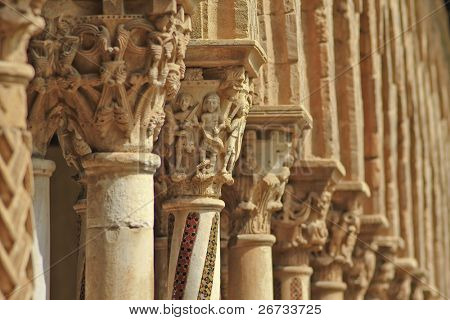 capitels, columns and arches in Monreale cloister, near Palermo, Sicily