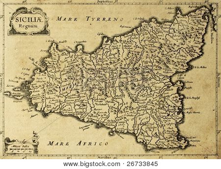 Sicily old map, may be approximately dated to the XVIII sec.