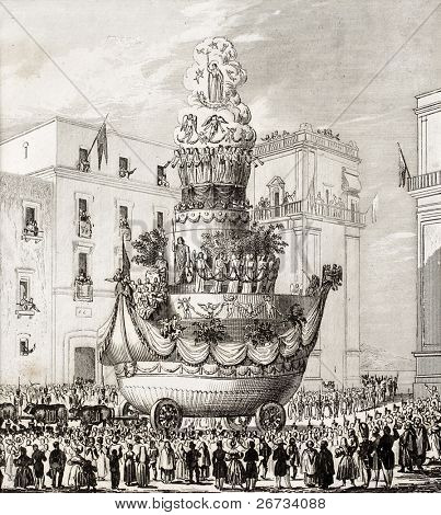 Antique illustration of  triumphal chariot, during the celebrations in honour of St. Rosalia, the patron saint of Palermo, Italy. The engraving was published in 1840