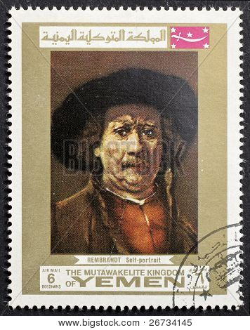 YEMEN - CIRCA 1969: a stamp printed in Yemen shows a self portrait of Rembrandt, the famous Dutch painter. Yemen, circa 1969