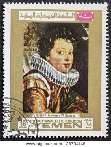 YEMEN - CIRCA 1969: a stamp printed in Yemen shows a portrait of Francesco IV Gonzaga, painted by Rembrandt, the famous Dutch artist. Yemen, circa 1969
