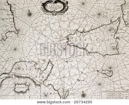 Old maritime map of North Africa coast and South Mediterranean, around Sicily, Sardinia, Malta and Cape Bon, including an insert map of Tabarka island. May be dated to the second half of 17th c.