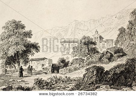 Antique illustration of Chapel St. Rosalie, the patron saint of Palermo, Italy. Original engraving was created by Lemaitre in 1840 ca.