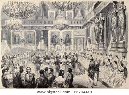 "Antique illustration of Grand Bal in Tuileries Palace. Original, after drawing of G. Durand, was  published on ""L'Illustration, Journal Universel"", Paris, 1860"