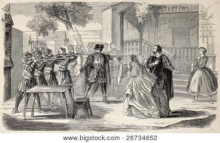 Antique illustration of a scene of Compere Guillery melodrama. Original, from drawing of Rousseau, was published on L'Illustration, Journal Universel, Paris, 1860