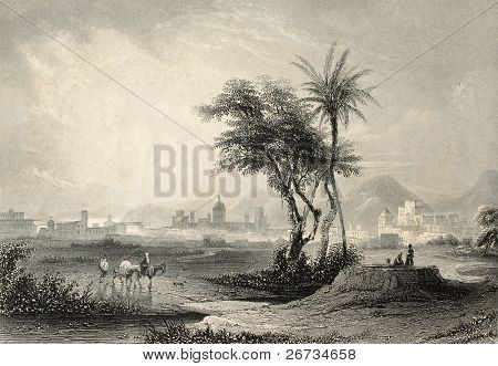 Antique illustrations of Palermo surroundings, Italy. Original engraving created by J. Muller and A. H. Payne in 1840 ca