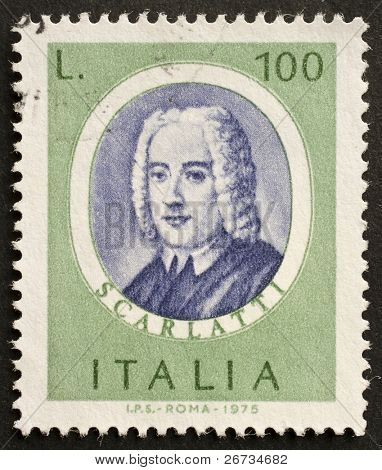ITALY - CIRCA 1975: a stamp printed in Italy shows image of Alessandro Scarlatti, the famous italian opera composer. Italy, circa 1975