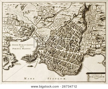 Antique map of Syracuse, Sicily. The original was created in the beginning of 17th c. by Philip Cluverius, celebrated polish geographer