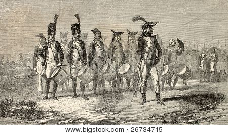 Old illustration of military drummers band of Italian Army. Drawn by Worms on painture of D. A. M. Raffet after photo of M. Martinet, published on L'Illustration, Journal Universel, Paris, 1860