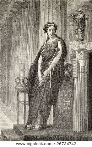 Elizabeth Rachel Felix, famous French actress known as Madamoiselle Rachel. From drawing of Marc, after peinture of J. L. Gerome, published on L'Illustration, Journal Universel, Paris, 1860