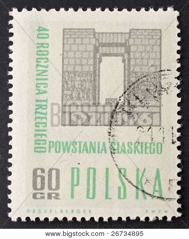 POLAND - CIRCA 1961: a stamp printed in Poland celebrates fortieth anniversary of third Silesia uprising against German rule. Poland, circa 1961