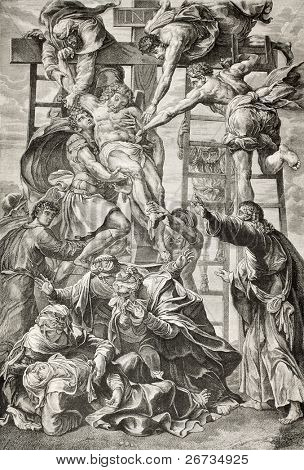 Old engraved reproduction of Descent from the Cross, famous picture by Daniele da Volterra, italian mannerist painter. Published on  L'Illustration, Journal Universel, Paris, 1860