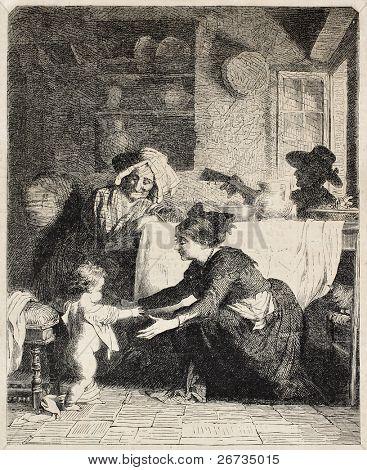 Antike Illustration der italienischen Familie in einer heimischen Szene. Original, aus einer Zeichnung von van Muyden,