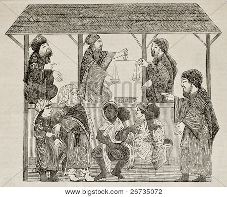 Slave market, from Muslim manuscript of 13th c.. Published on L'Illustration, Journal Universel, Paris, 1860, drawing of Parent from collection of M. Schefer, professor at school of oriental languages