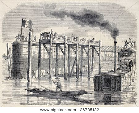 Antique illustration shows building site of a bridge on Rhine between Strasbourg and Khel. Original, by Talyemand e Levy, was published on L'Illustration, Journal Universel, Paris, 1860