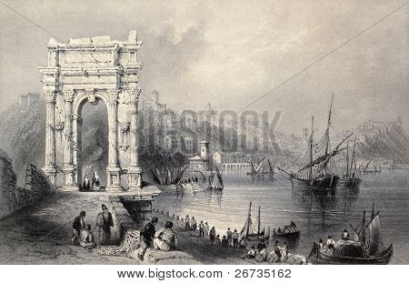 Antique illustration of Arco di Traiano in Ancona, Italy. Original created by W. H. Bartlett and J. Sands, published in Florence, Italy, 1842, Luigi Bardi ed.