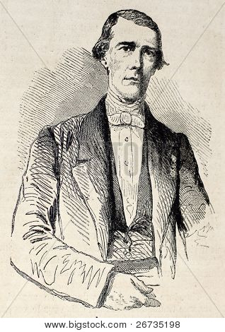 Porträt von Gibert de Molieres, großen von Saint Denis, Réunion. von der Zeichnung von Janet Lange,