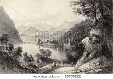 Antique illustration of Lake Lugano, on the border between Italy and Switzerland. Original, created by Major Irton and T. A. Prior, was published in Florence, Italy, 1842, Luigi Bardi ed.
