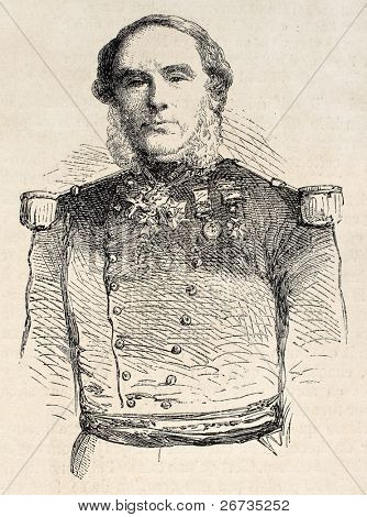 Old engraved portrait of  Baron Danicau, governor of Reunion island. From drawing of Janet-Lange, after photo of Hugoulin, was published on L'Illustration, Journal Universel, Paris, 1860
