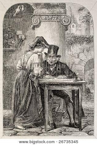 Antique illustration of a woman speaking to a public scrivener. Original engraving, form a peinting of Meyer and drawing of Marc, was published on L'Illustration, Journal Universel, Paris, 1860
