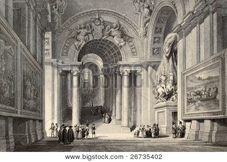 Antique illustration of Scala Regia (Royal Staircase) in Vatican City. Original, created by W. L. Leitch and E. Challis, was published in Florence, Italy, 1842, Luigi Bardi ed.