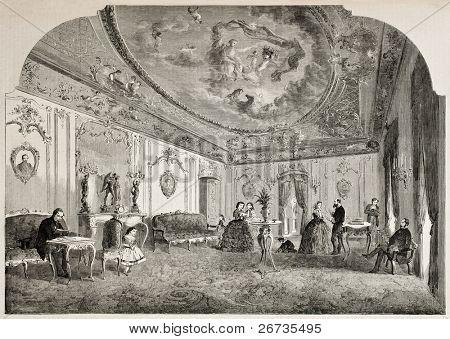 Antiga ilustração do salão do Disderi, sala de recepção do famoso fotógrafo francês. Origina