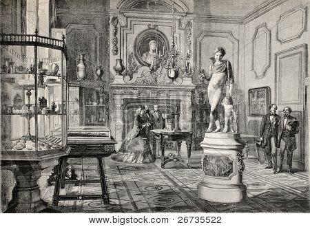 Antique illustration of Louis Fould's art collection in rue de Berry, Paris. Original, from drawing of Fichot and Durand, was published on L'Illustration, Journal Universel, Paris, 1860