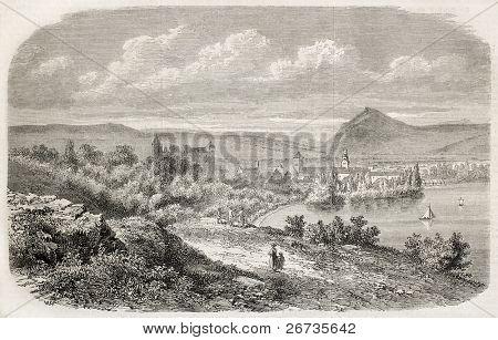 Annecy, la ciudad alpina de Francia en la orilla del lago del mismo nombre. De dibujo de Fr