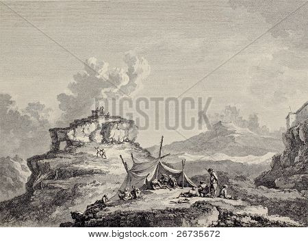 View of Ceres rock, near Enna, Sicily. Created by Chatelet and Couch�©, published on Voyage Pittoresque de Naples et de Sicilie, by J. C. R. de Saint Non, Imprimerie de Clousier, Paris, 1786